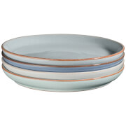 Denby Always Entertaining - Blues - 4 Piece Medium Coupe Plate Set