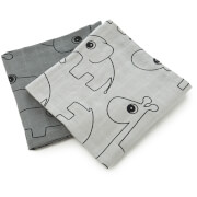 Done by Deer Contour Muslin Cloth - Grey (Pack of 2)