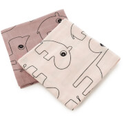 Done by Deer Contour Muslin Cloth - Powder (Pack of 2)