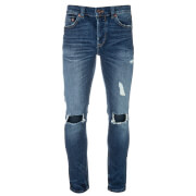 Only & Sons Men's Loom Ripped Jeans - Mid Blue Denim