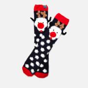 Joules Women's Festive Fluffy Character Socks - Dog