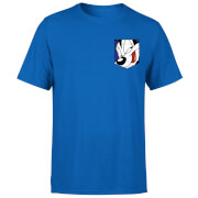 Looney Tunes Pepe Le Pew Face Faux Pocket Men's T-Shirt - Royal Blue