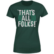Looney Tunes That's All Folks Damen T-Shirt - Dunkelgrün