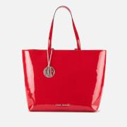 Armani Exchange Women's Patent Shopping Tote Bag - Red
