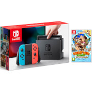Nintendo Switch Console With Neon Red/Neon Blue Joy-Con & Donkey Kong Tropical Freeze
