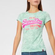 Superdry Women's Vintage Logo Aop Burnout Entry T-Shirt - Burnout Mint