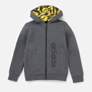 adidas Boys Linear Full Zip Hoody - Dark Grey Heather
