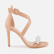 Kurt Geiger London Women's Knightsbridge Crystal Leather Heeled Sandals - Camel