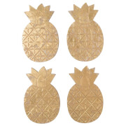 Sass & Belle Set Of 4 Gold Pineapple Coasters