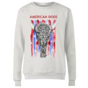 Sweat Femme American Gods Tête de Mort et Drapeau Américain - Blanc