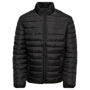 Only & Sons Men's Liner Puffer Stand Collar Jacket - Black