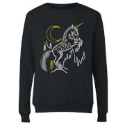 Harry Potter Unicorn Line Art Dames Trui - Zwart