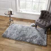 Sienna Soft, Shaggy, Thick Pile Rug 80 x 150cm - Silver