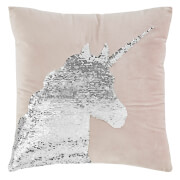 Catherine Lansfield Sequin Unicorn Cushion - 43 x 43 - Pastel