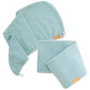 Aquis Dream Boat Blue Waffle Hair Turban + Dream Boat Blue Waffle Hair Towel Bundle (Worth £75)