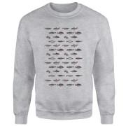 Fish In Geometric Pattern Sweatshirt - Grey