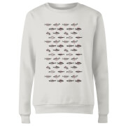 Fish In Geometric Pattern Women's Sweatshirt - White
