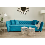 Fifty Five South Riva 3 Seat Sofa - Blue Velvet