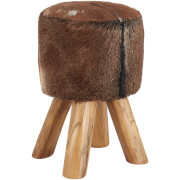 Fifty Five South Inca Round Stool - Brown Goat Hide