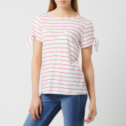 Joules Women's Tiggy Tie Sleeve Jersey Top - White Red Stripe