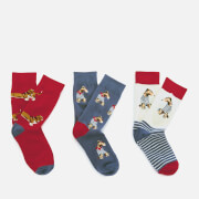 Joules Women's Brilliant Bamboo 3 Pack Socks - Blue Dogs