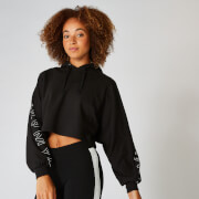MP Icon Cropped Hoodie - Black Solid