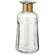 Nkuku Chara Hammered Bottle - Clear Glass & Antique Brass - 18cm
