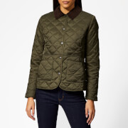 Barbour Women's Deveron Quilted Coat - Olive/Pale Pink