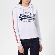 Superdry Women's Vintage Logo League College Crop Hoodie - Ice Marl