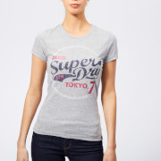 Superdry Women's Tokyo 7 Glitter Entry T-Shirt - Light Grey Snowy