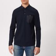 Ted Baker Men's Leopard Long Sleeve Polo Shirt - Navy