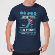Rick and Morty Mr Meeseeks Pain Men's Christmas T-Shirt - Navy