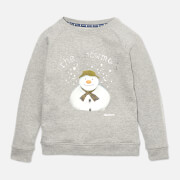 Barbour Girls' Naomi Overlayer Snowman Sweatshirt - Light Grey Marl