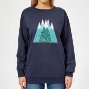 Bike and Mountains Women's Christmas Sweatshirt - Navy