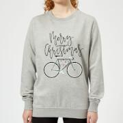 Bike Lights Women's Christmas Sweatshirt - Grey