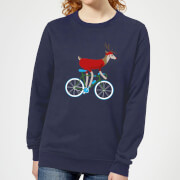 Biking Reindeer Women's Christmas Sweatshirt - Navy