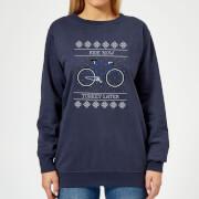 Ride Now, Turkey Later Women's Christmas Sweatshirt - Navy