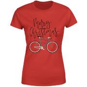 Bike Lights Women's Christmas T-Shirt - Red