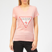 Guess Women's Icon T-Shirt - Pink Palm Tree