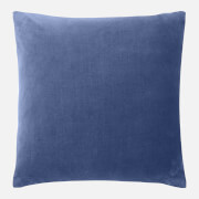in homeware Feather Filled Velvet Cushion - Blue
