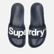 Superdry Men's Pool Slide Sandals - Dark Navy/Optic White/Fluro Lime