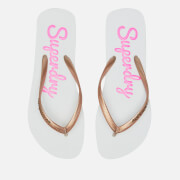 Superdry Women's Super Sleek Flip Flops - Optic White/Rose Gold