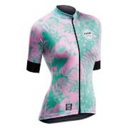 Northwave Leaves Short Sleeve Jersey - Green Forest/Pink