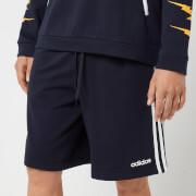 adidas Men's Essential 3 Stripe Fleece Shorts - Navy