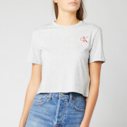 Calvin Klein Jeans Women's Monogram Embroidery Cropped T-Shirt - Light Grey Heather