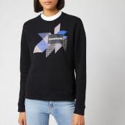 Calvin Klein Jeans Women's Quilt Graphic Crew Neck Sweatshirt - CK Black