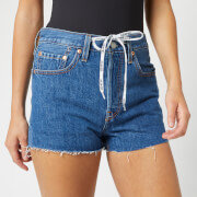 Levi's Women's 501 Hr Logo Tie Shorts - Light Indigo