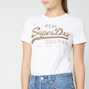 Superdry Women's V Logo Glitter Emboss Entry T-Shirt - Optic