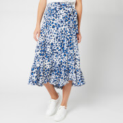 Whistles Women's Brushed Leopard Wrap Skirt - Blue/Multi