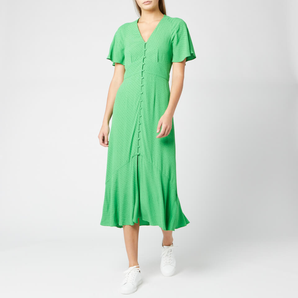 Whistles Women's Micro Spot Print Button Dress - Green/Multi